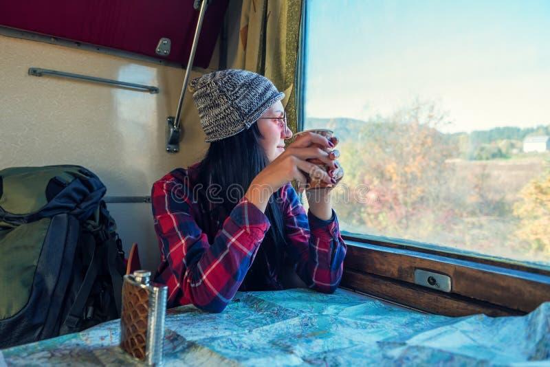 Fille dans le chariot de train photographie stock libre de droits