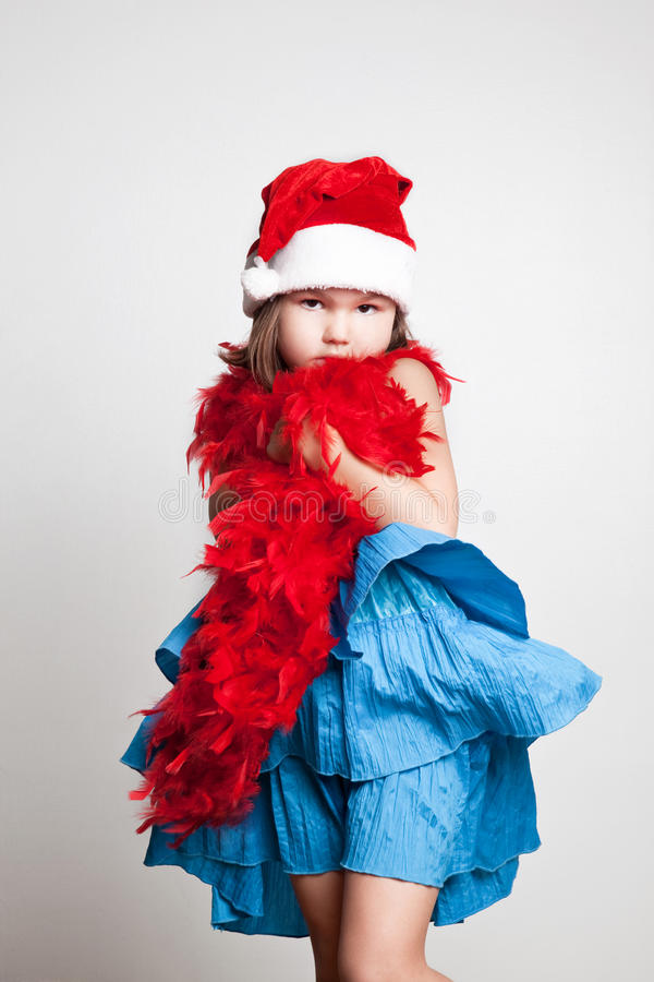 Fille dans le costume de Santa Claus photo libre de droits