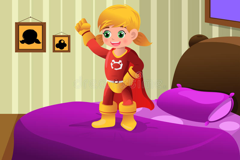 Fille dans le costume de super héros illustration de vecteur
