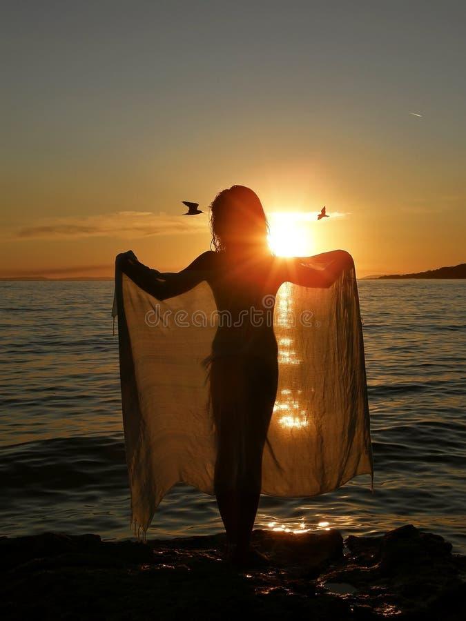 Fille dans le coucher du soleil avec l'écharpe et les oiseaux photo stock