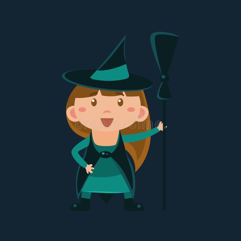 Fille dans le déguisement de sorcière de magicien d'Oz illustration libre de droits