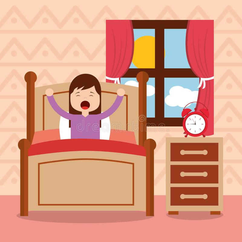 Fille dans le lit se réveillant pendant le matin illustration stock