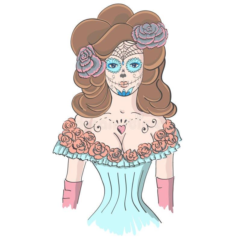 Fille dans le maquillage Dia De Los Muertos illustration stock
