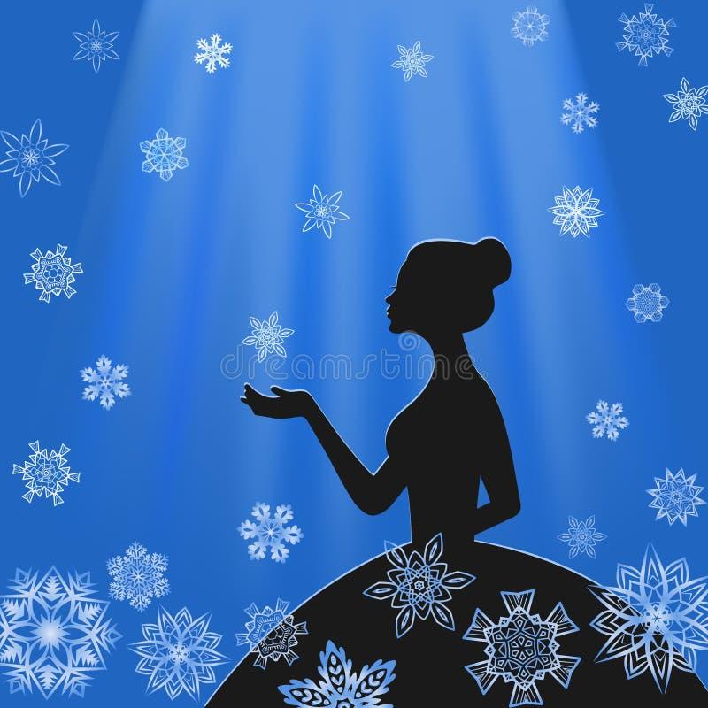 Fille dans le profil avec des flocons de neige dans les faisceaux bleu-clair illustration libre de droits