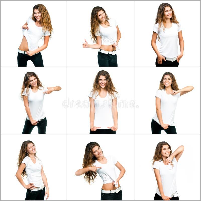 Fille dans le T-shirt blanc photographie stock