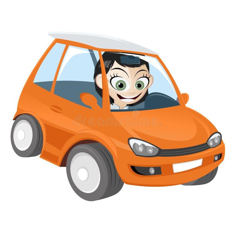 Fille dans le véhicule orange de dessin animé illustration libre de droits