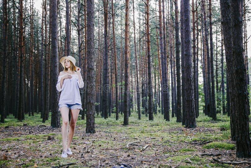 Fille dans les bois photos stock