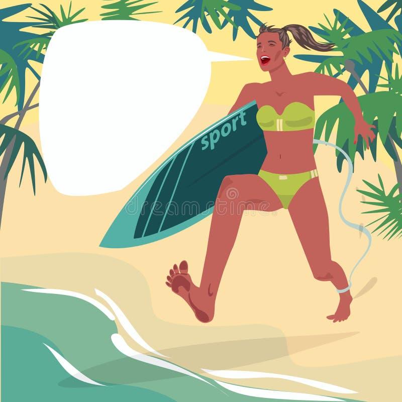 Fille dans les courses sur la plage avec la planche de surf illustration de vecteur