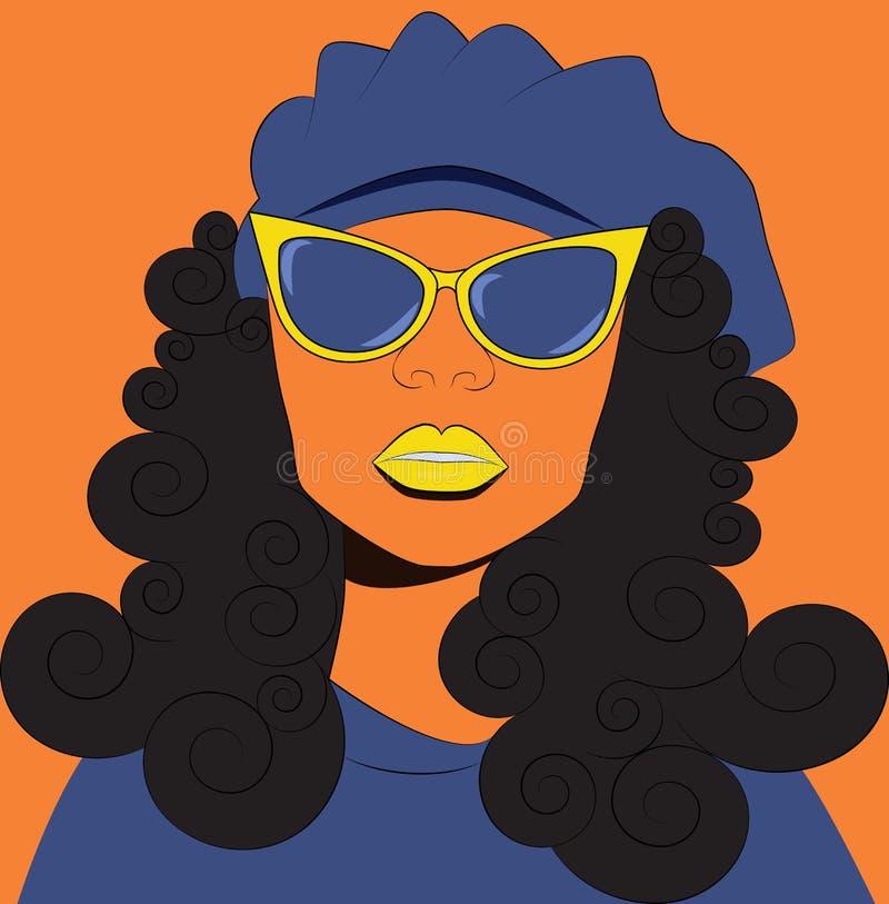 Fille dans les lunettes de soleil et le béret illustration libre de droits