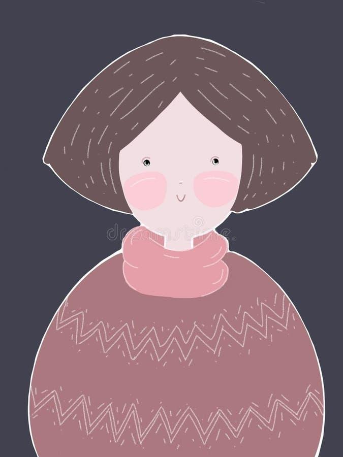 Fille dans un chandail rose illustration libre de droits