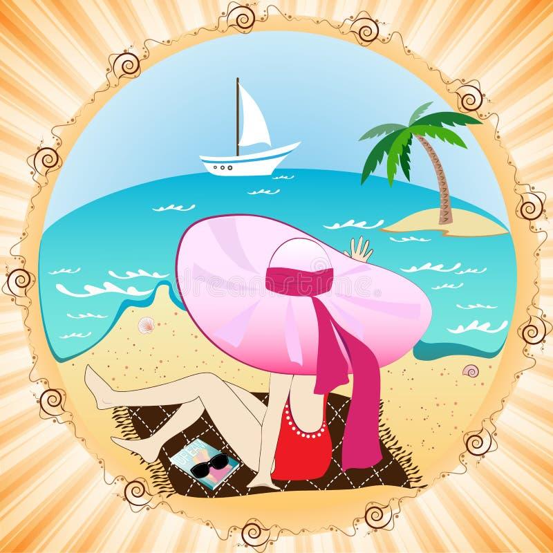 Fille dans un chapeau sur la plage illustration de vecteur
