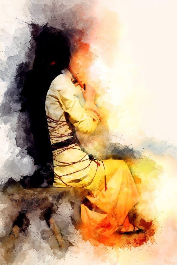 Fille dans un costume historique jouant sa cannelure et fond doucement brouillé d'aquarelle illustration libre de droits