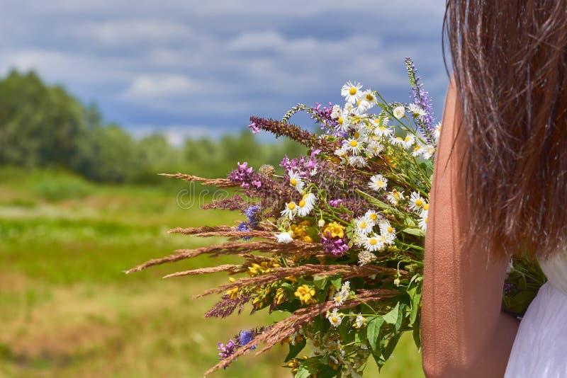 Fille dans un domaine avec un groupe de fleurs sauvages dans leurs mains Le concept de la pureté et unité avec la nature photographie stock