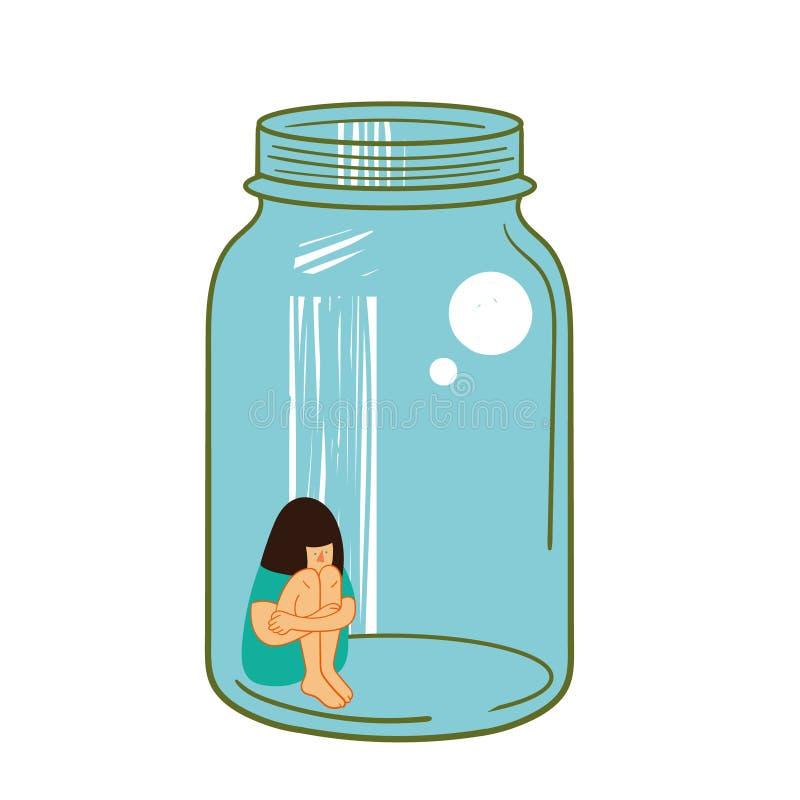 Fille dans un pot en verre Métaphore pour la solitude et l'isolement intimider illustration libre de droits