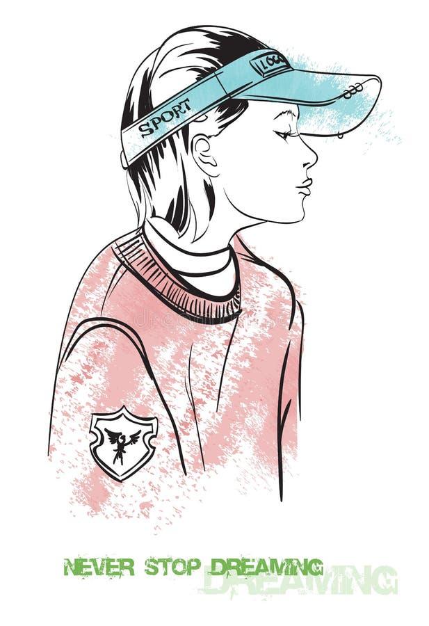 Fille dans un style urbain de chapeau illustration libre de droits