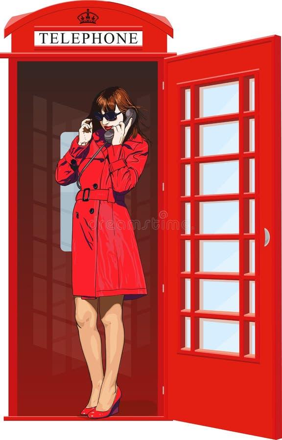 Fille dans une cabine de téléphone anglaise illustration libre de droits
