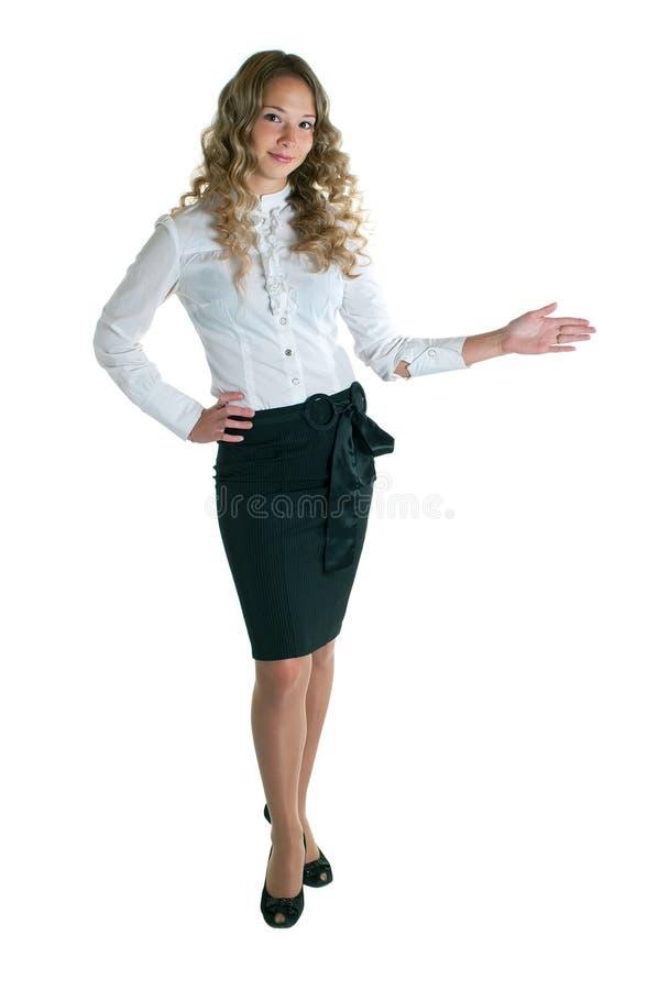 Fille dans une chemise blanche et une jupe noire photo libre de droits