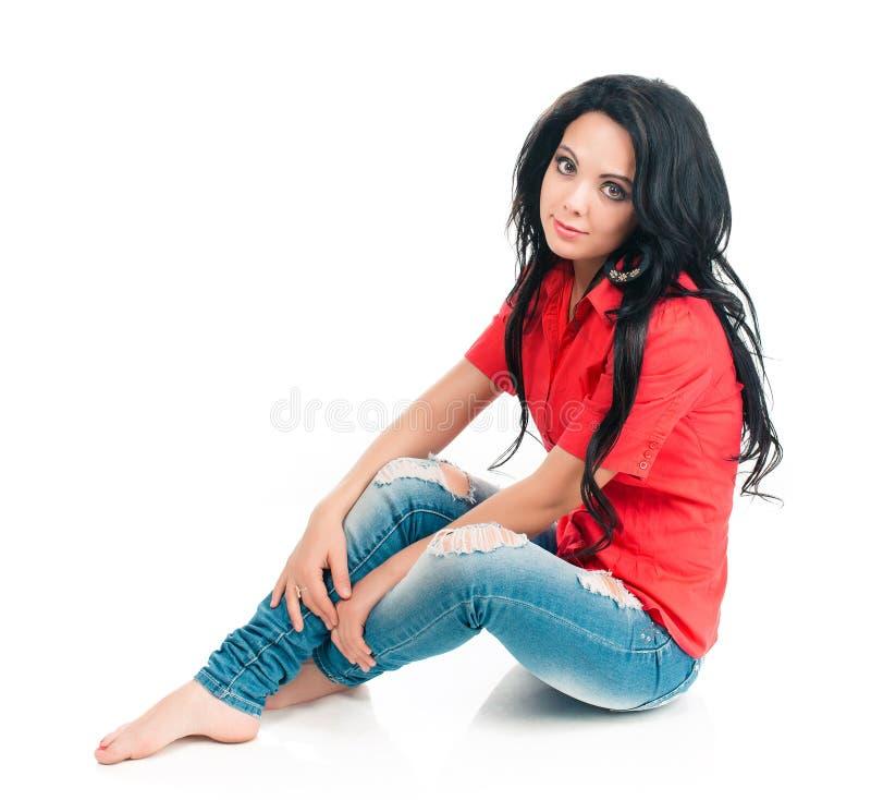 Fille dans une chemise rouge images stock