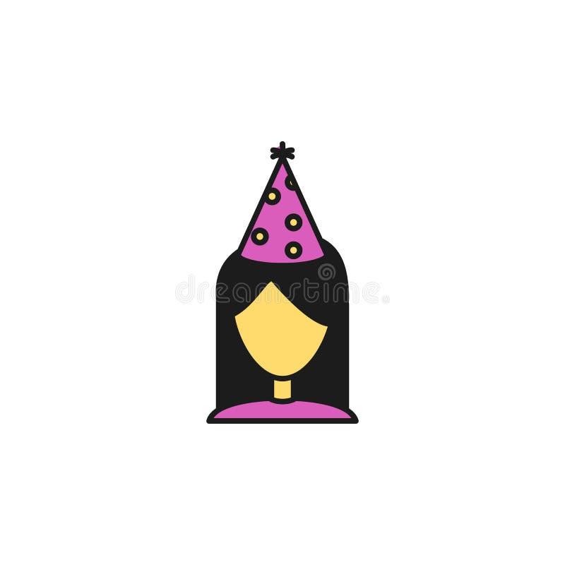 fille dans une icône colorée par chapeau de fête Élément d'icône de fête d'anniversaire pour les apps mobiles de concept et de We illustration libre de droits