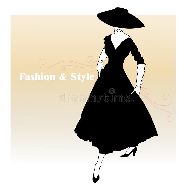 Fille dans une robe épanouie illustration de vecteur