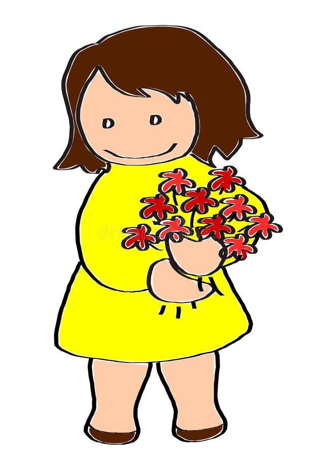 Fille dans une robe jaune avec un groupe de fleurs rouges photos stock