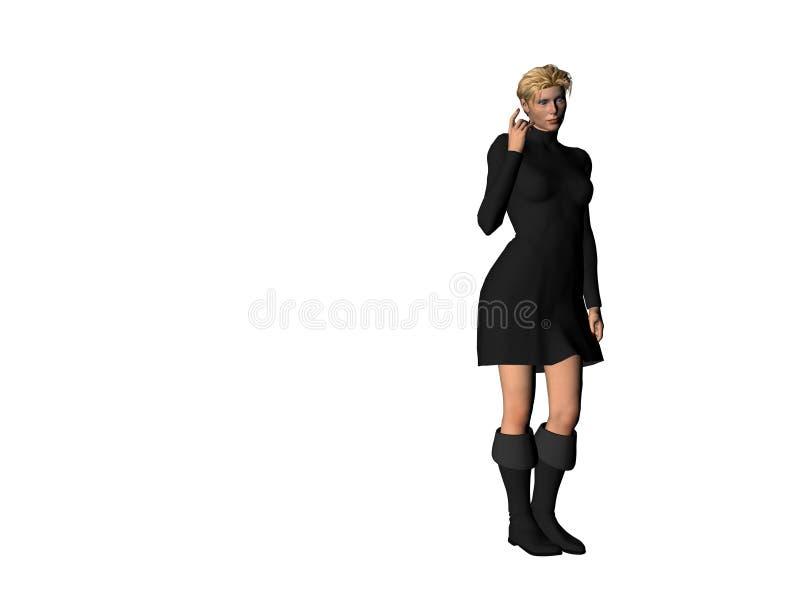 Fille dans une robe noire 11 illustration stock