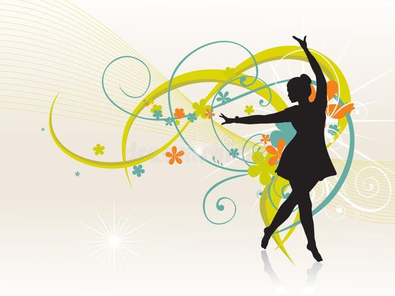 Fille dansant le beau fond illustration libre de droits