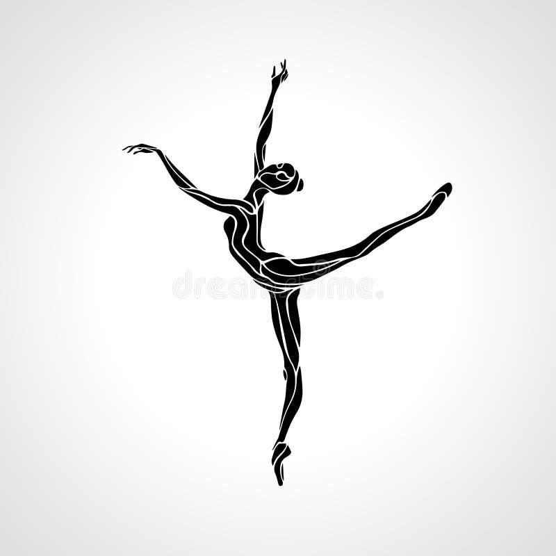 Fille de ballet Femme de danse de gymnastique d'art illustration stock