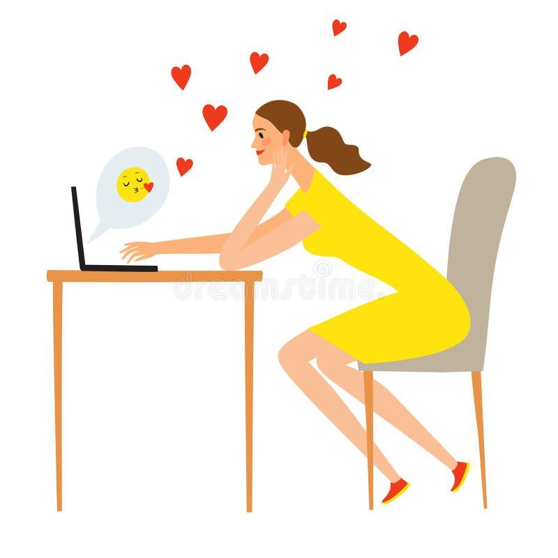 Fille de bande dessinée avec l'ordinateur portable flirtant en ligne illustration libre de droits