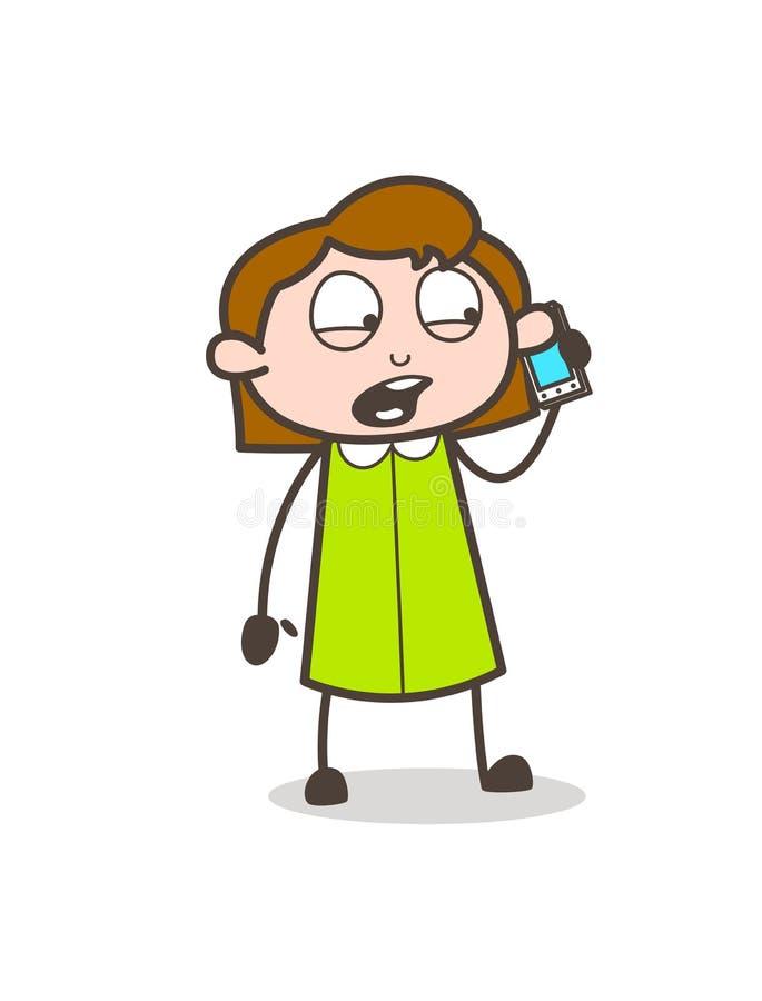 Fille de bande dessinée hurlant sur le vecteur mobile illustration libre de droits