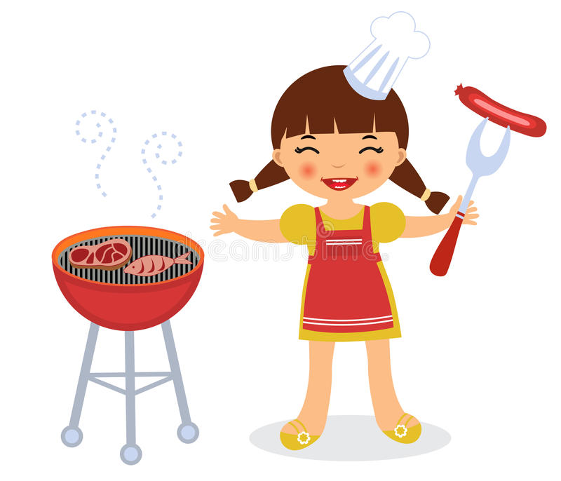 Fille de barbecue illustration libre de droits