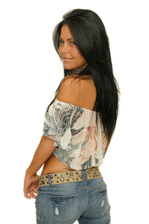 Fille de beauté avec de longs cheveux noirs image libre de droits