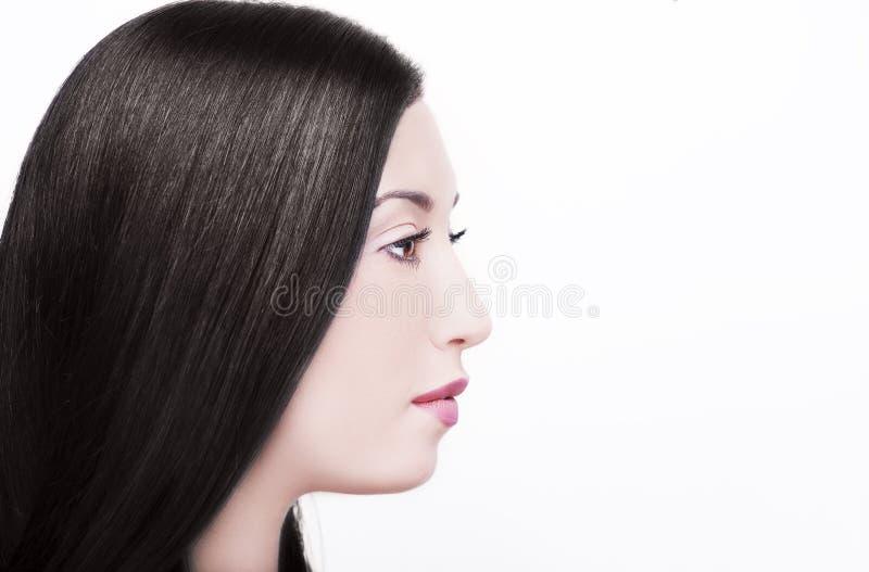 Fille de beauté avec les cheveux sains noirs longtemps droits photographie stock