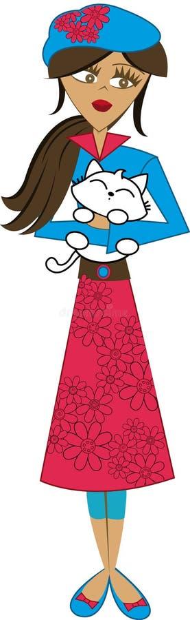 Fille de beauté avec un chat souriant et des fleurs dans elle robe photographie stock