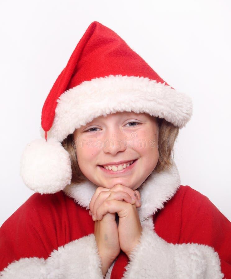 Fille de bonheur dans le capot de Noël image libre de droits