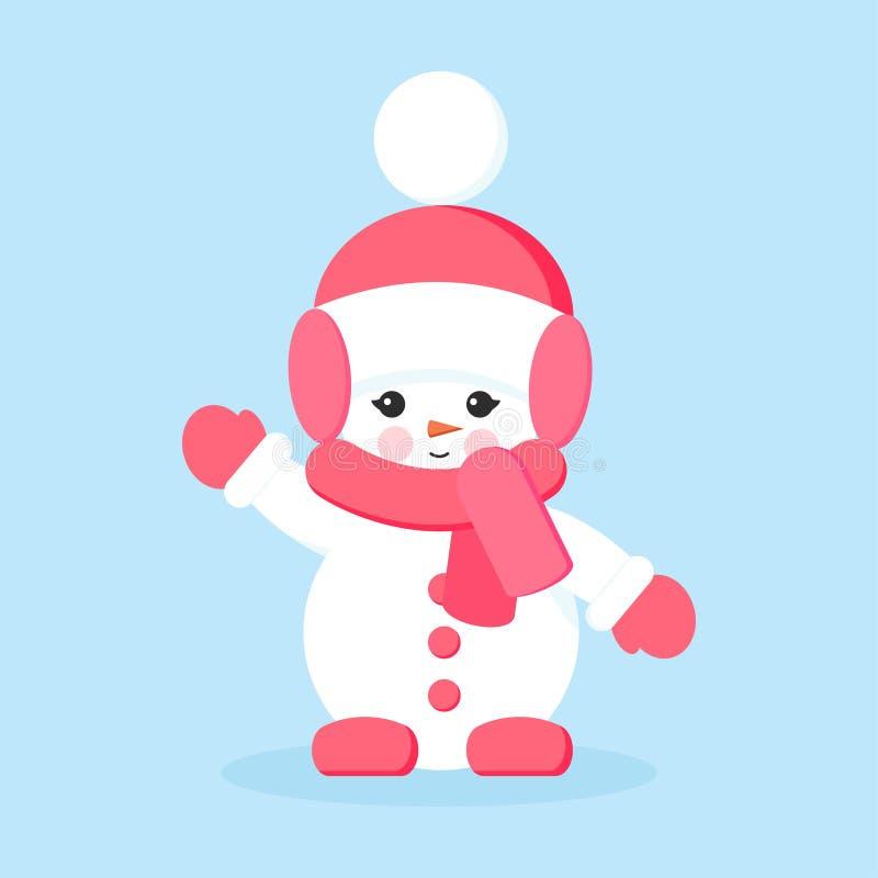 Fille de bonhomme de neige avec les vêtements roses dans bonjour ou salut pose illustration stock