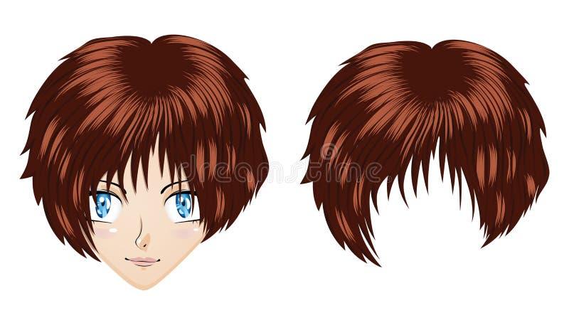 Fille de brune d'Anime illustration stock