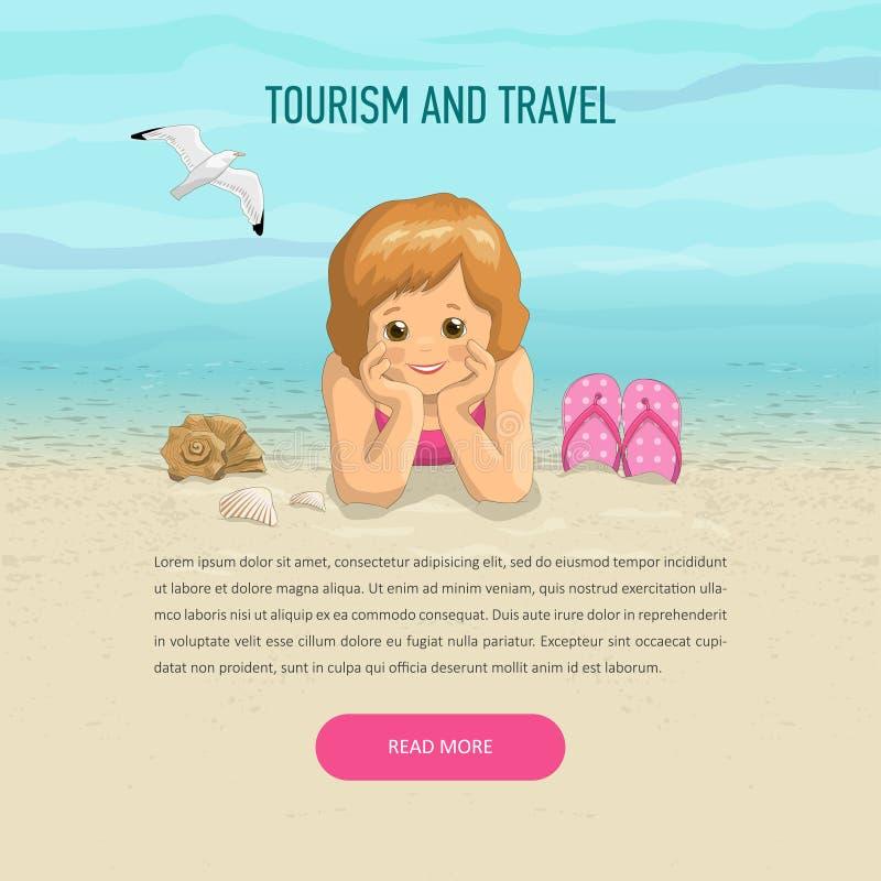 Fille de calibre des vacances sur la plage illustration de vecteur