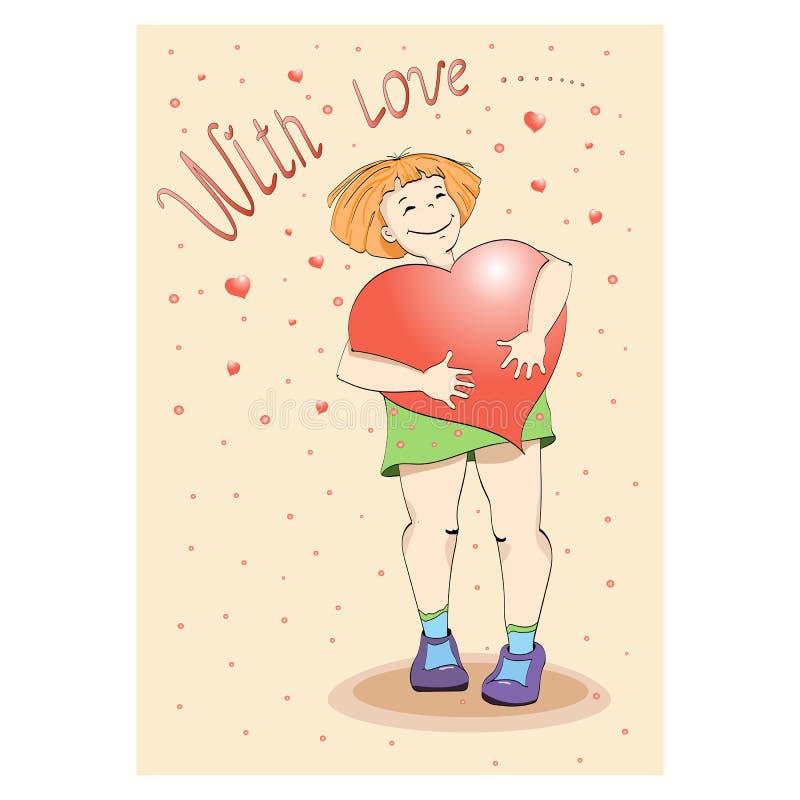 Fille de carte postale tenant un coeur Vecteur illustration de vecteur