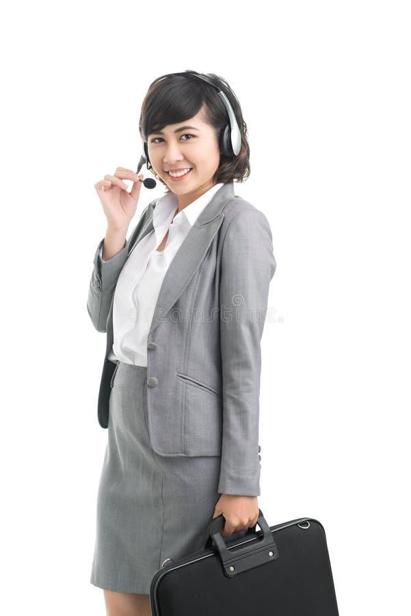 Fille de centre d'attention téléphonique images stock