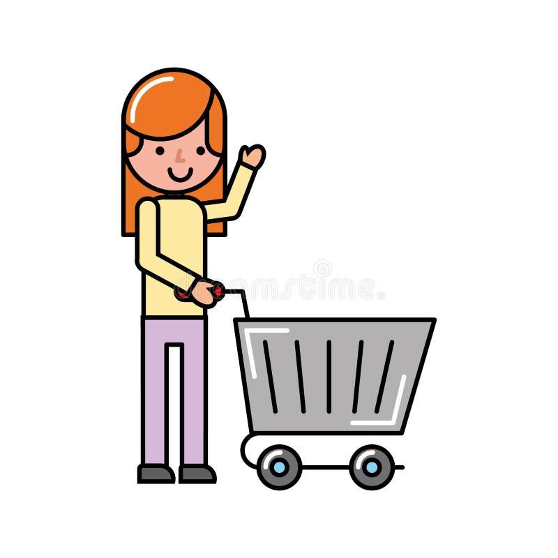 Fille de client avec le marché d'achats de chariot illustration stock