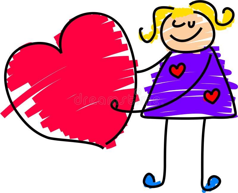Fille de coeur illustration de vecteur