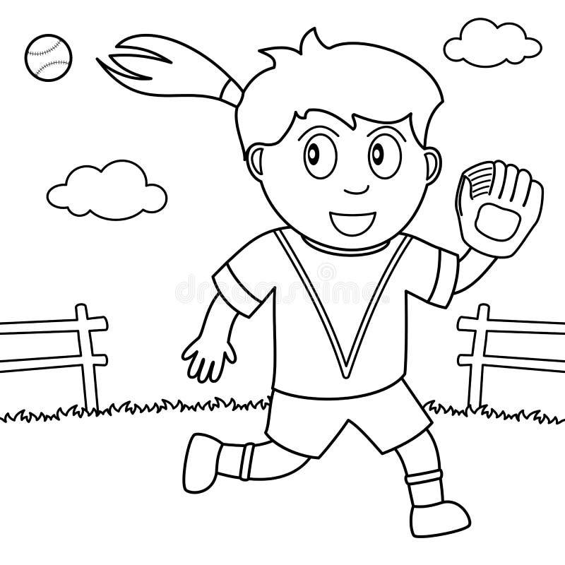 Fille de coloration jouant le base-ball en parc illustration de vecteur