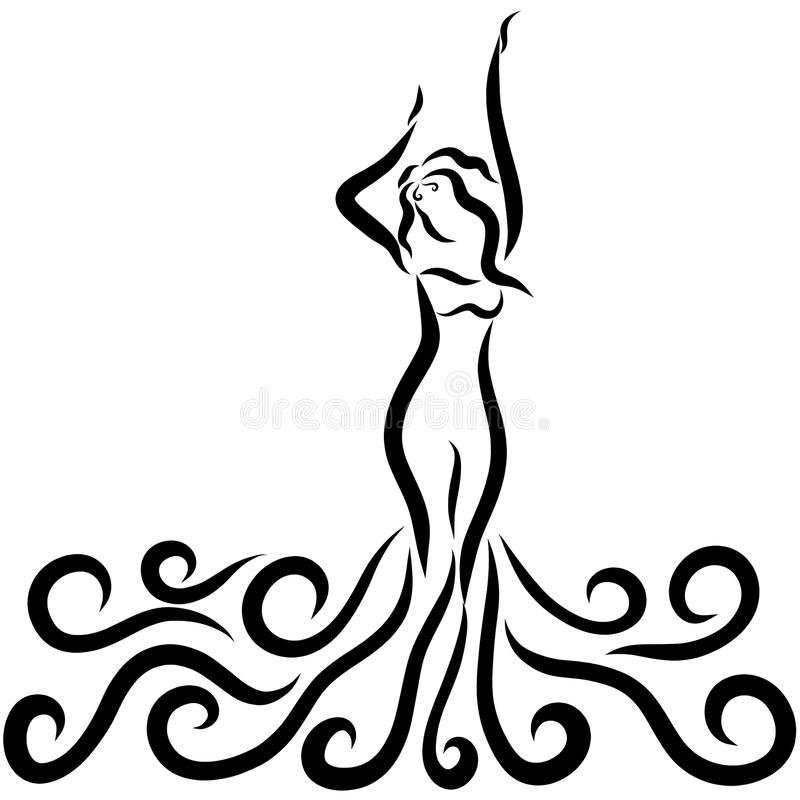 Fille de danse dans une robe avec des vagues illustration libre de droits