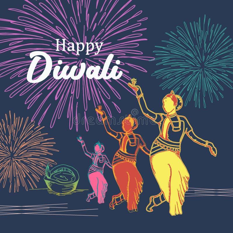 Fille de danse et feux d'artifice indiens tirés par la main colorés pour Diwali festifal des lumières Illustration de vecteur illustration de vecteur