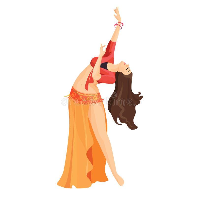 Fille de danseuse du ventre d'isolement sur le blanc Danse caucasienne professionnelle de femme illustration de vecteur