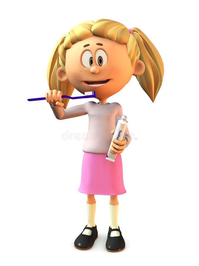 Fille de dessin animé se brossant les dents. illustration stock