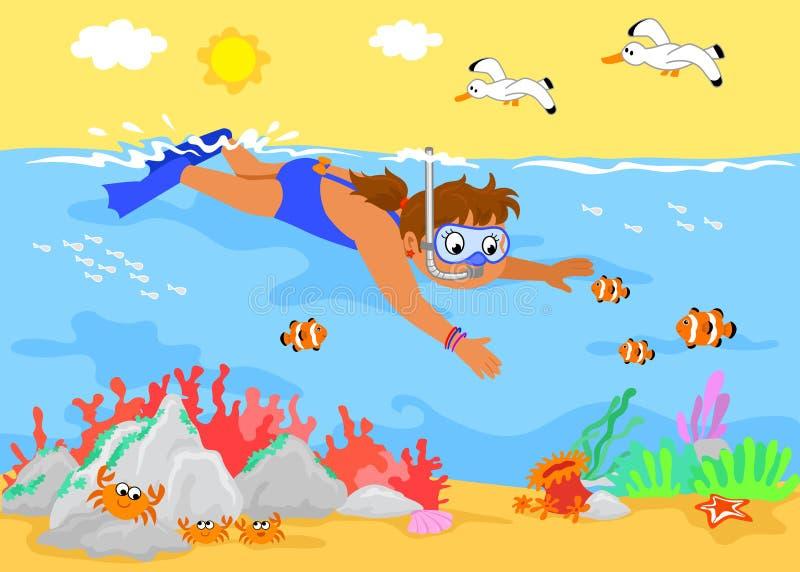 Fille de dessin animé sous-marine illustration de vecteur