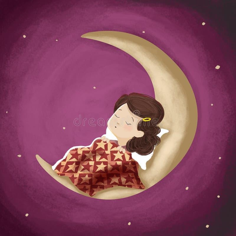 Fille de dessin dormant, rêvant la nuit sur la lune illustration libre de droits