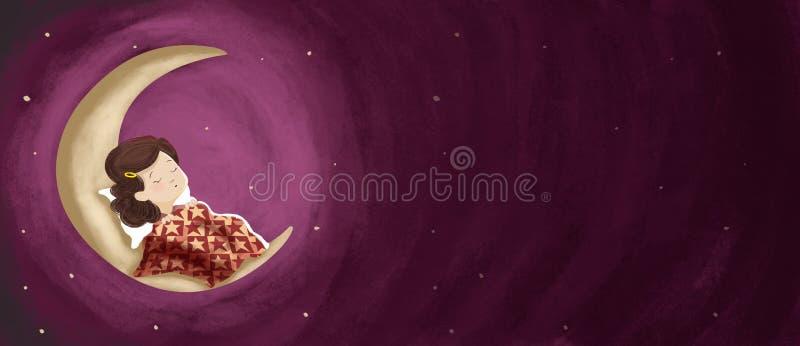 Fille de dessin dormant, rêvant la nuit sur la lune horizontal illustration stock